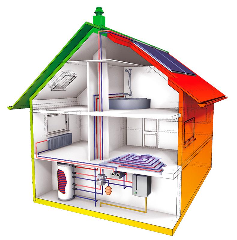 Systemdarstellung Gas-Brennwerttechnik mit Solarthermie | Quelle: BDH