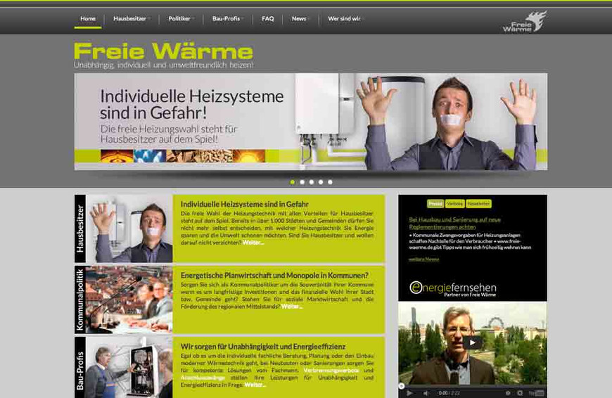 """Webseite """"Freie Wärme"""""""