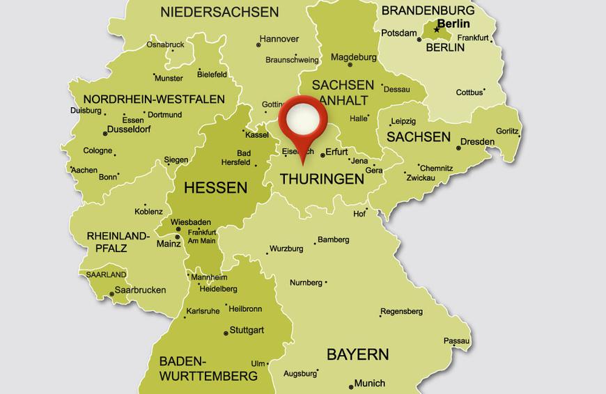 Landeskarte von Thüringen